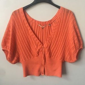 Anthro Knitted & Knotted Open Knit Dolman Top